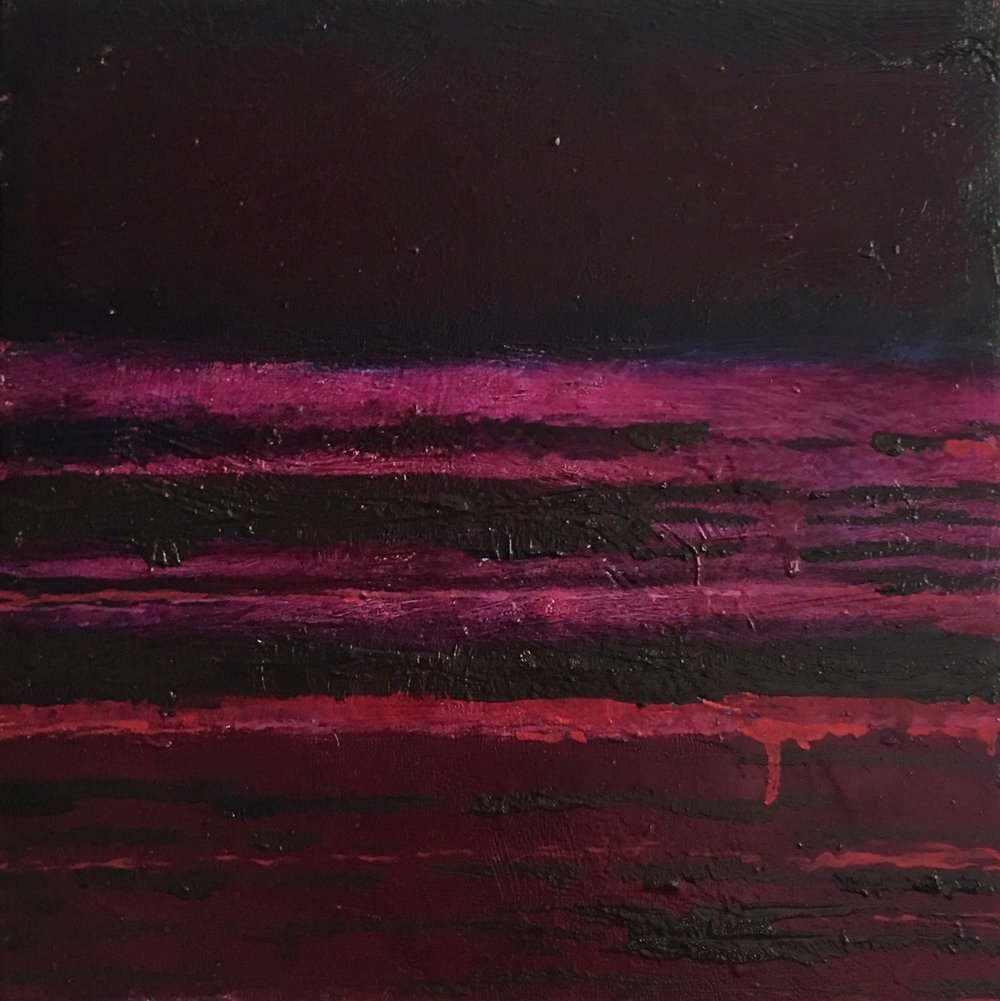 "Red Nocturne XVI  oil on wood panel 12""x 12"" ( 30.5 x30.5 cm) 2018"