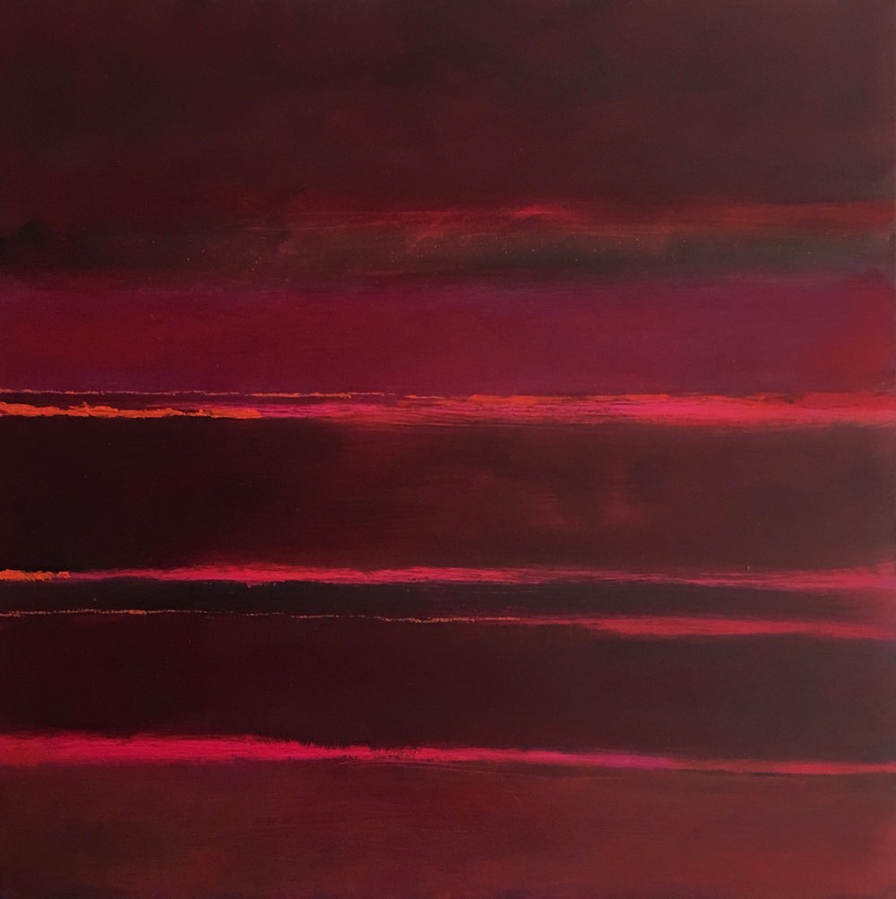 "Red Nocturne XIV oil on wood panel 16""x 16"" ( 40.7 x 40.7 cm ) 2018"