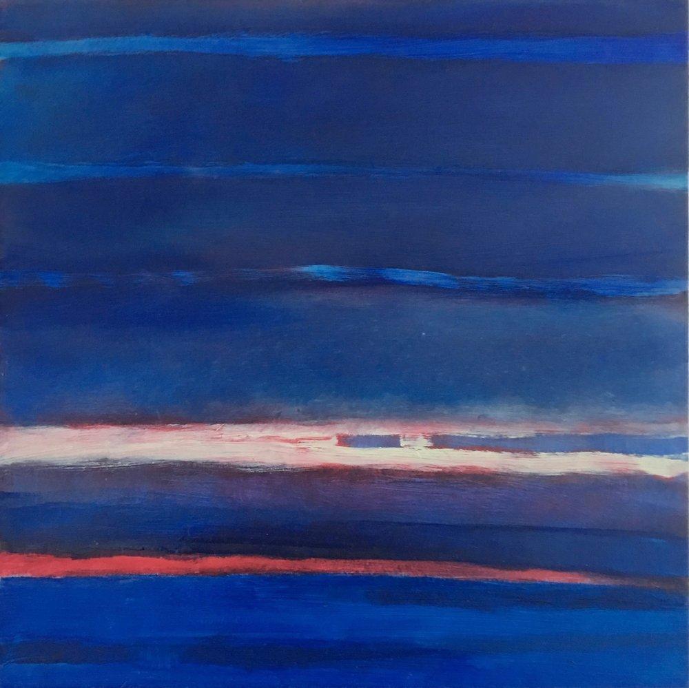 "Blue Nocturne IX  oil on wood panel 12""x 12"" ( 30.5 x 30.5 cm) 2018"