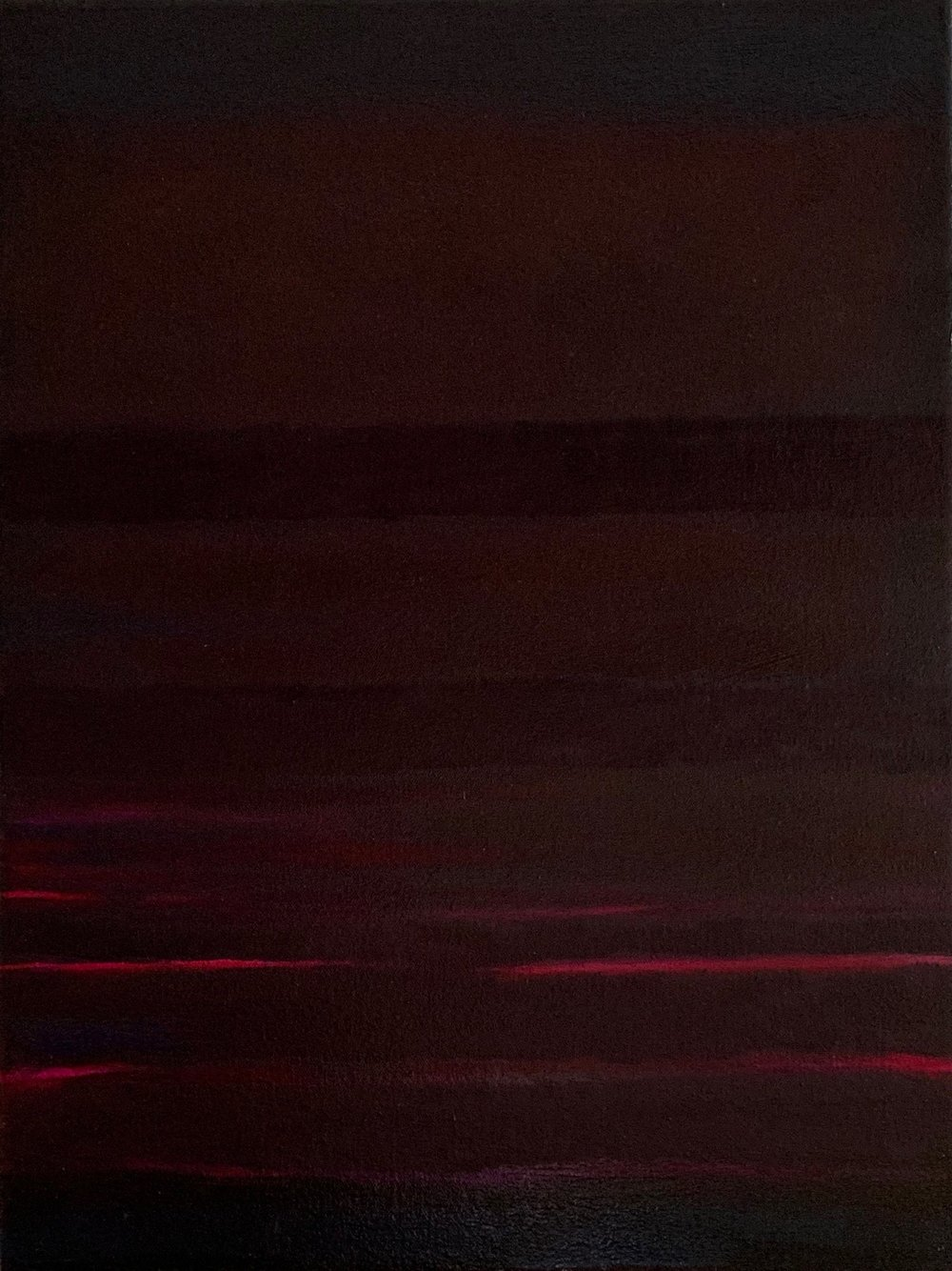 """Red Nocturne XIII oil on canvas 24"""" x 18"""" ( 61 x 45.7 cm ) 2018"""