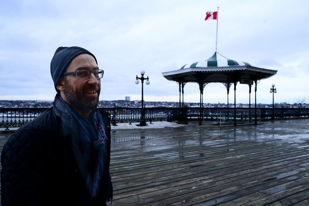 My husband in chilly Quebec City, half an hour before we found out about Matt.