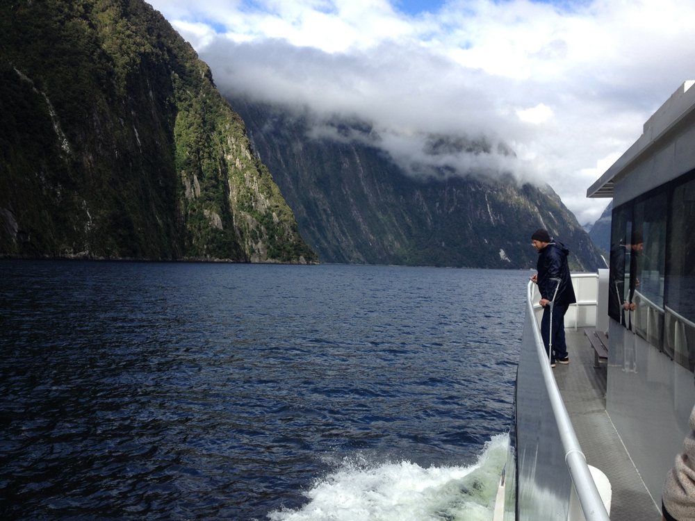 Matt on crutches in Milford Sound last March.