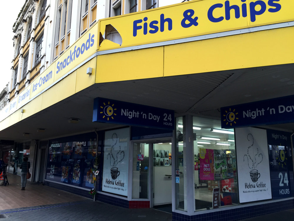 The Night 'n Day convenience store on the corner of Esk and Dee streets in Invercargill where Matt was hit.