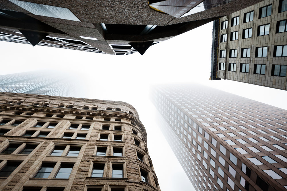 Looking up in Boston's Financial District (2x3)