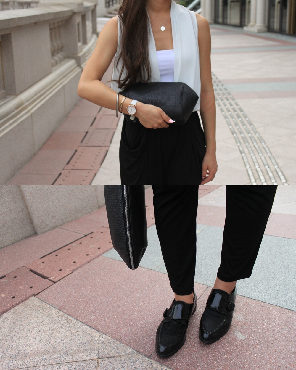 Black and White Playsuit / Shoes: Black Pony Hair Monk Strap / Clutch: Alexander Wang