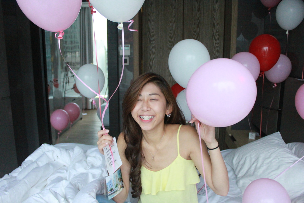 Miss Selfridge Yellow Cami Top / Blue ripped jeans Balloons from Matteo shop Boutique Hotel Suite The Jervois