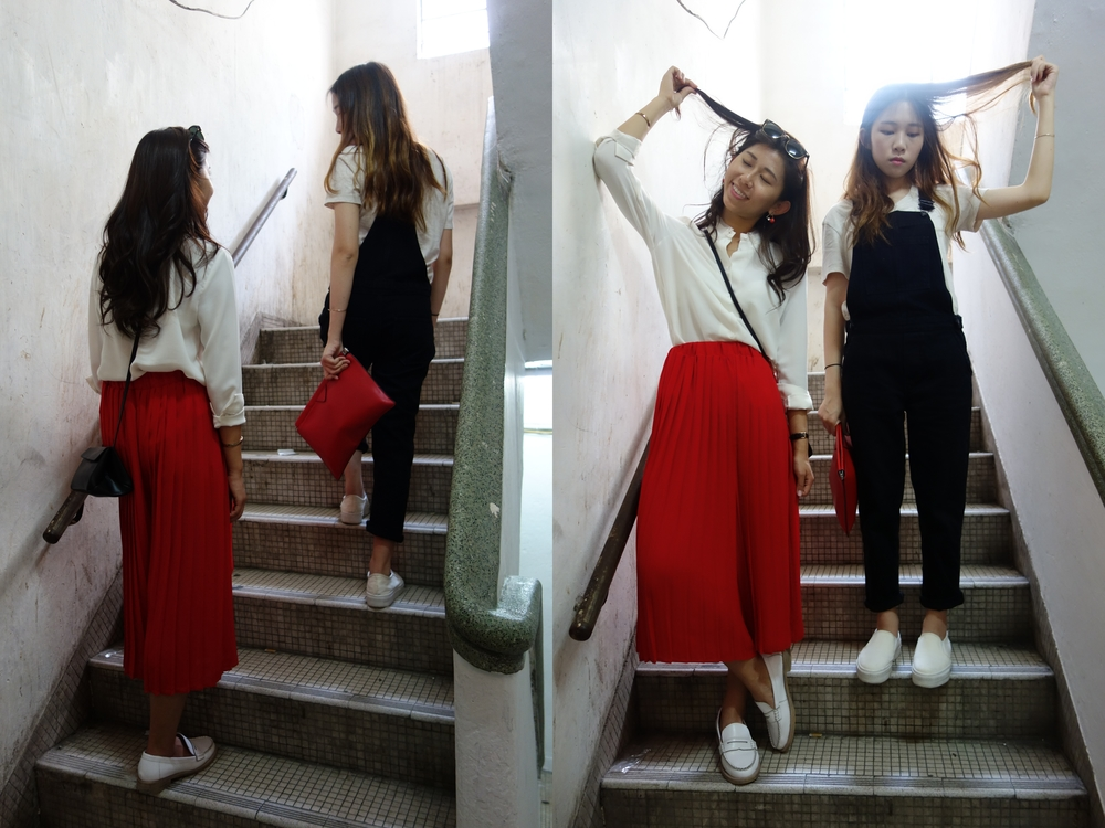 On me (left): White blouse / Red flare pants from HK boutique / White loafers / Cos black triangular crossbag On Cherie (right): White basic tee from Korea / Topshop denim dungarees / White Slip-on from Korea / Zara red clutch