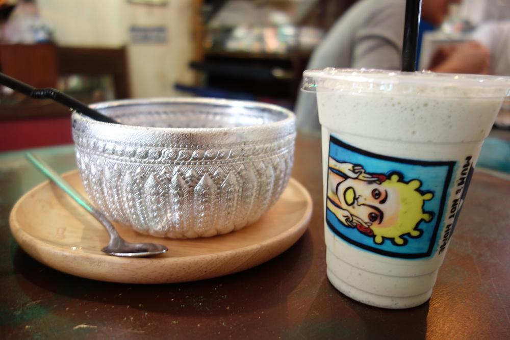Left: blue lemonade Right: green tea latte