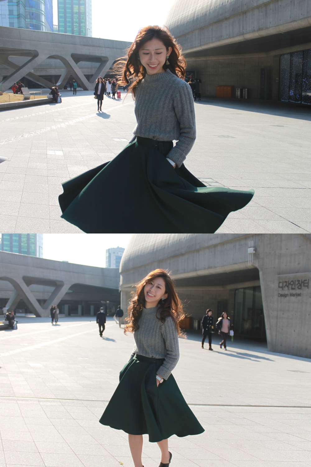 Korea grey Sweater Top / Amber (HK) green midi-skirt / DearPostman green earrings #001 /  Staccato  black cut-out pointed heels