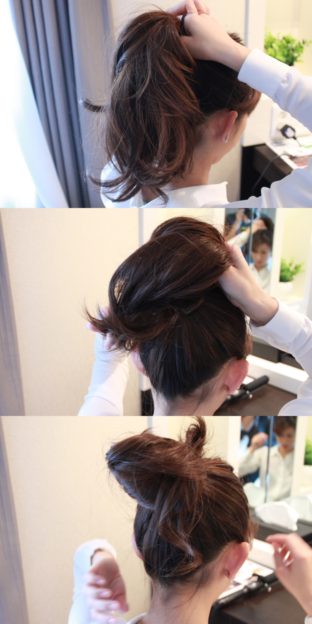Tie a ponytail into a half-open ball.