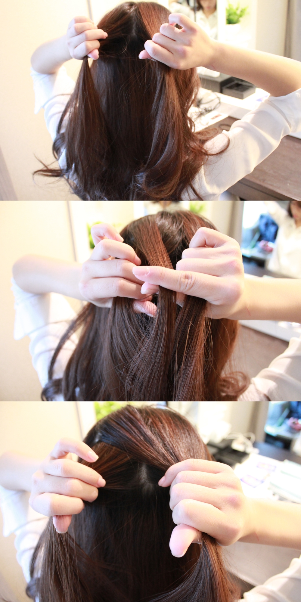 Take a strand of hair to do fishtail braid. Take a small strand from each the left and add it to the right (cross over the top) Repeat this step for the right side, add the small strand to the left. Do 3 crossovers.