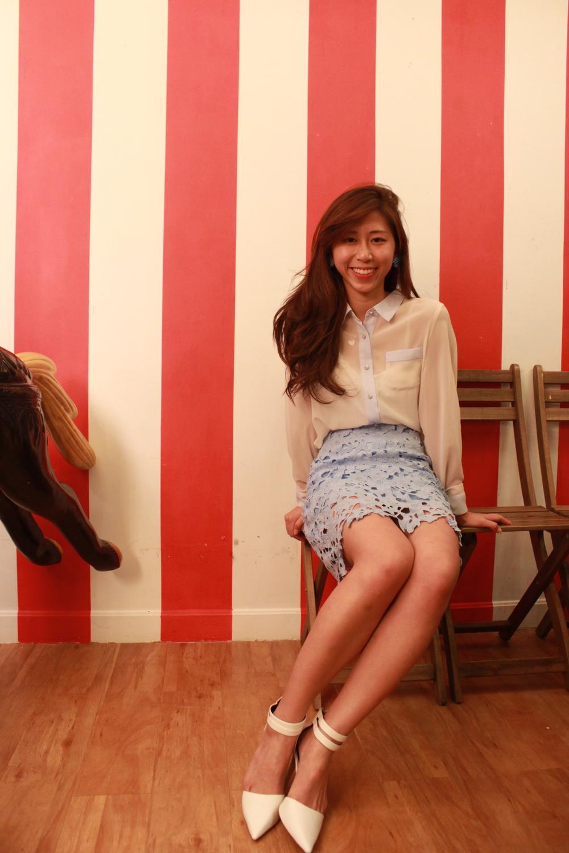 b+ab white sheer shirt / Korea light blue lace dress / RAYE Candace white heels/ DearPostman earrings