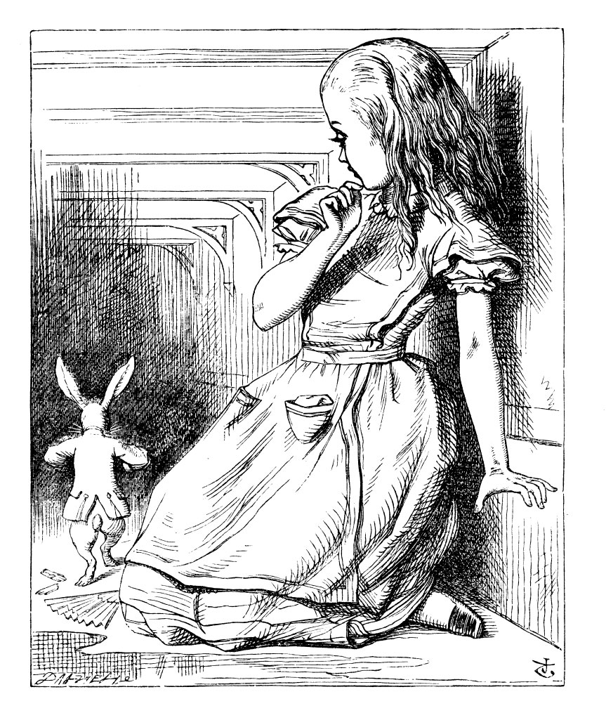 Alice looking at the White Rabbit (Image via online)