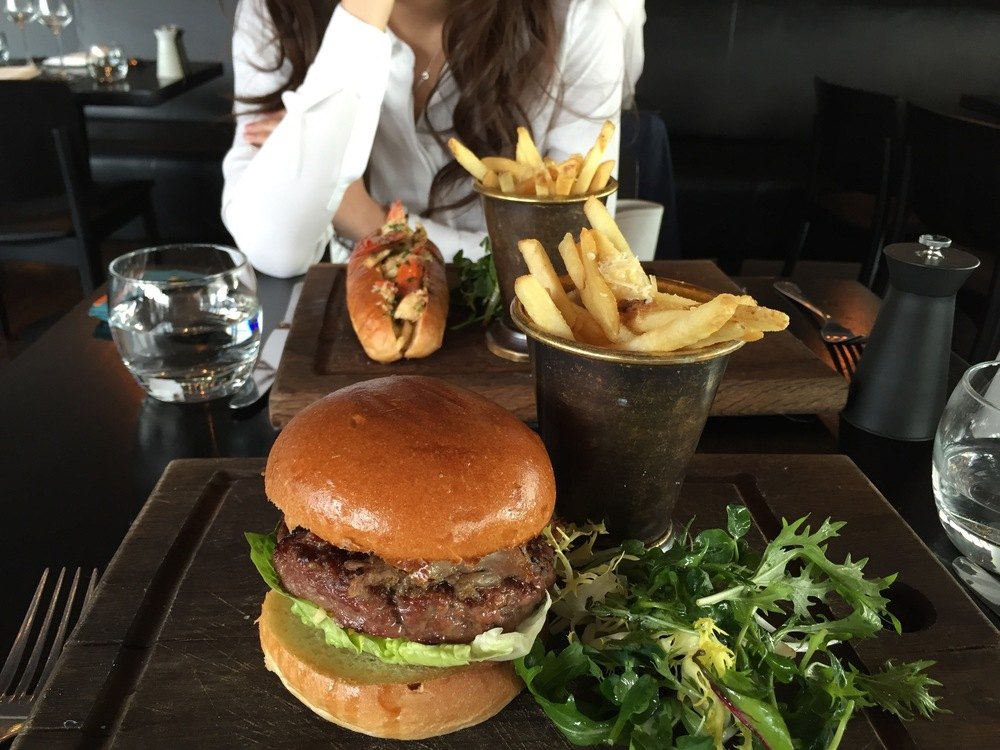 Duck burger (medium rare) with truffle fries