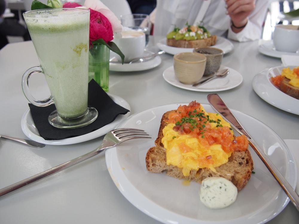 Matcha Latte Scrambled Eggs, H. Forman & Son's Smoked Salmon, Dill Crème Fraîche