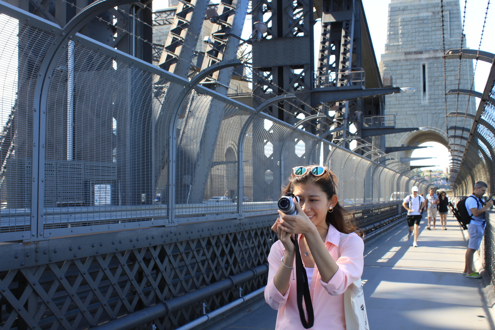 Walking across Sydney Harbour Bridge