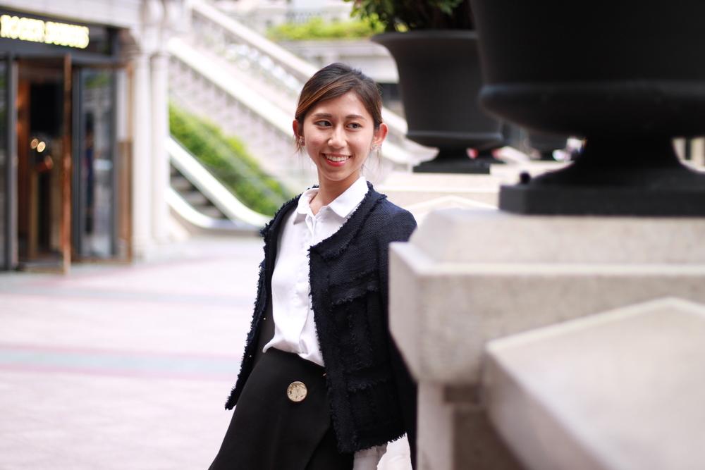 H&M  white shirt /  MoisStudio black skort  / Little jacket /  Staccato  open toe heels /  AlexanderWang  handbag