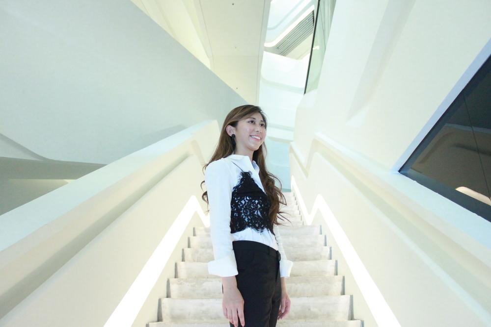 Theory white shirt / Zara lace bralette / Korea black cropped pants / Mango slides