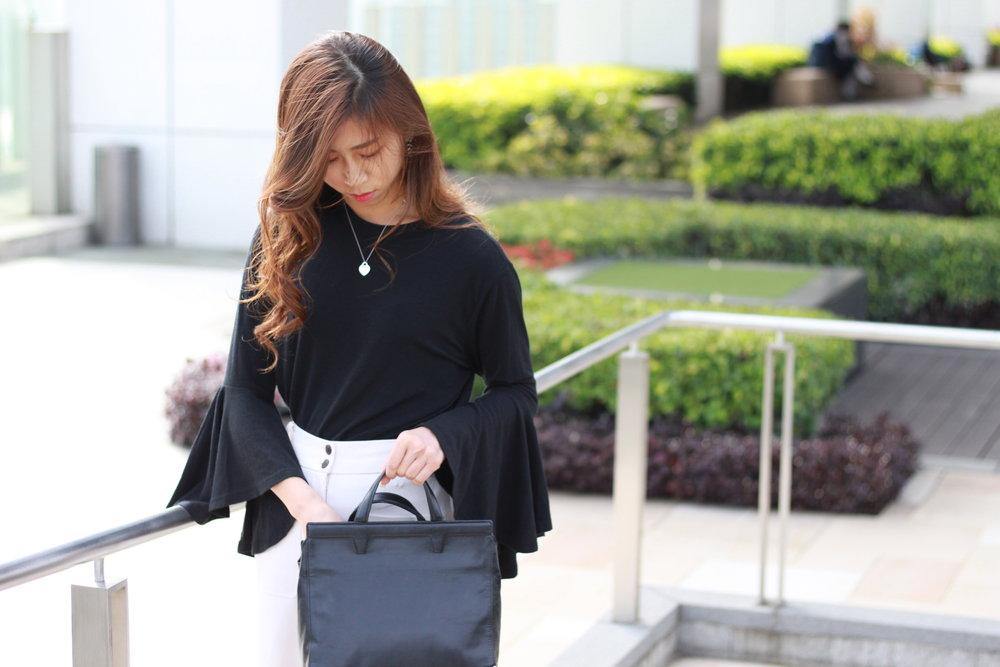 Black bell sleeves top / Giordano Ladies nude wide pants / Charles & Keith grey block heels / Alexander Wang bag