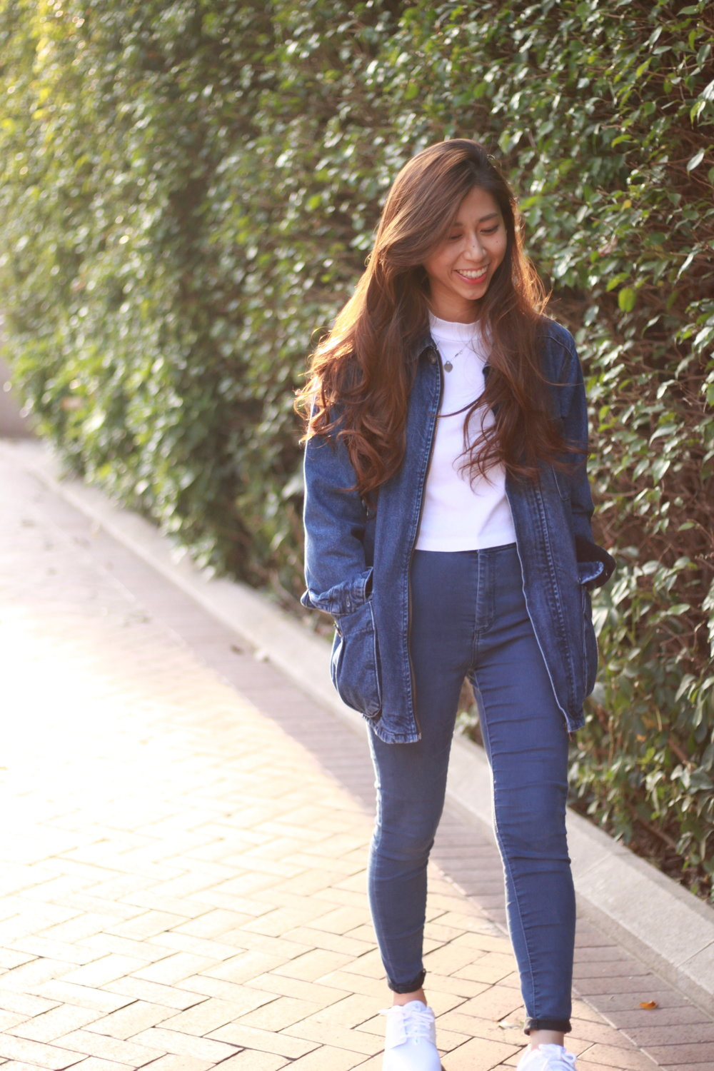 Topshop denim oversized jacket / White tee /  Topshop PETITE Blue Joni Jeans  / Nike white roshe /  DearPostman Full/half earrings