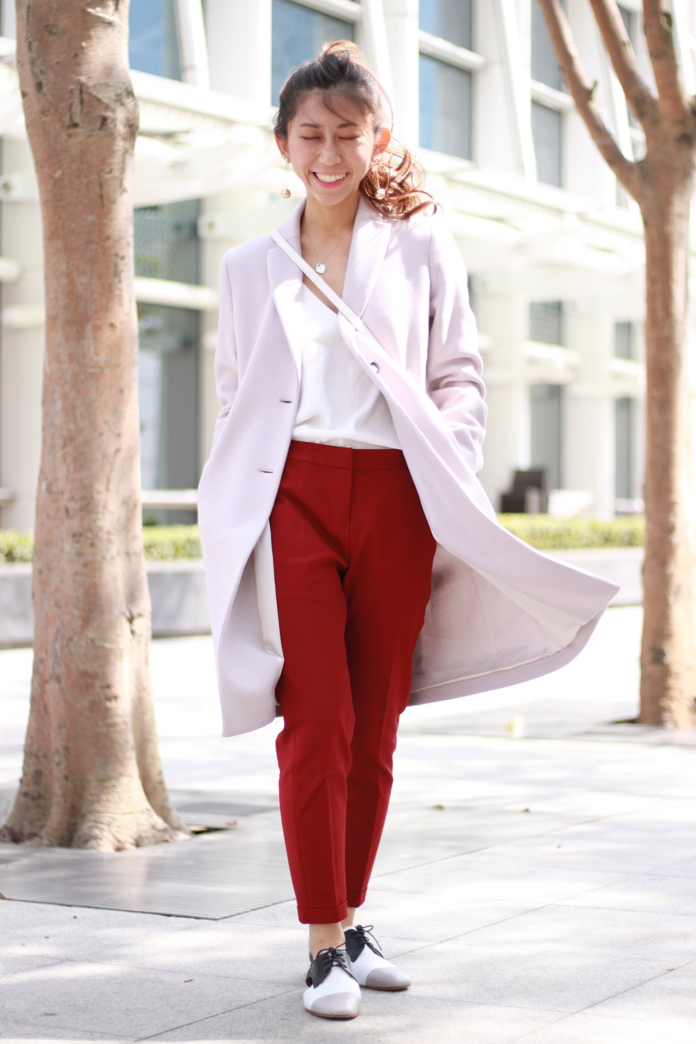 Asos white cami / Giordano Ladies red pants / Giordano Ladies cut-out oxford shoes / Pennyblack coat / Agnes b. white crossbag / DearPostman golden disco ball earrings