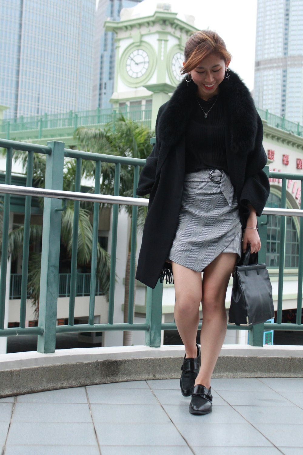 Long blazer from Korea / b+ab black blouse /  Topshop wrap belted check skirt  /  Giordano Ladies  fur scarf / Vanishing elephant /  Alexander Wang  handbag / Earrings from Taiwan