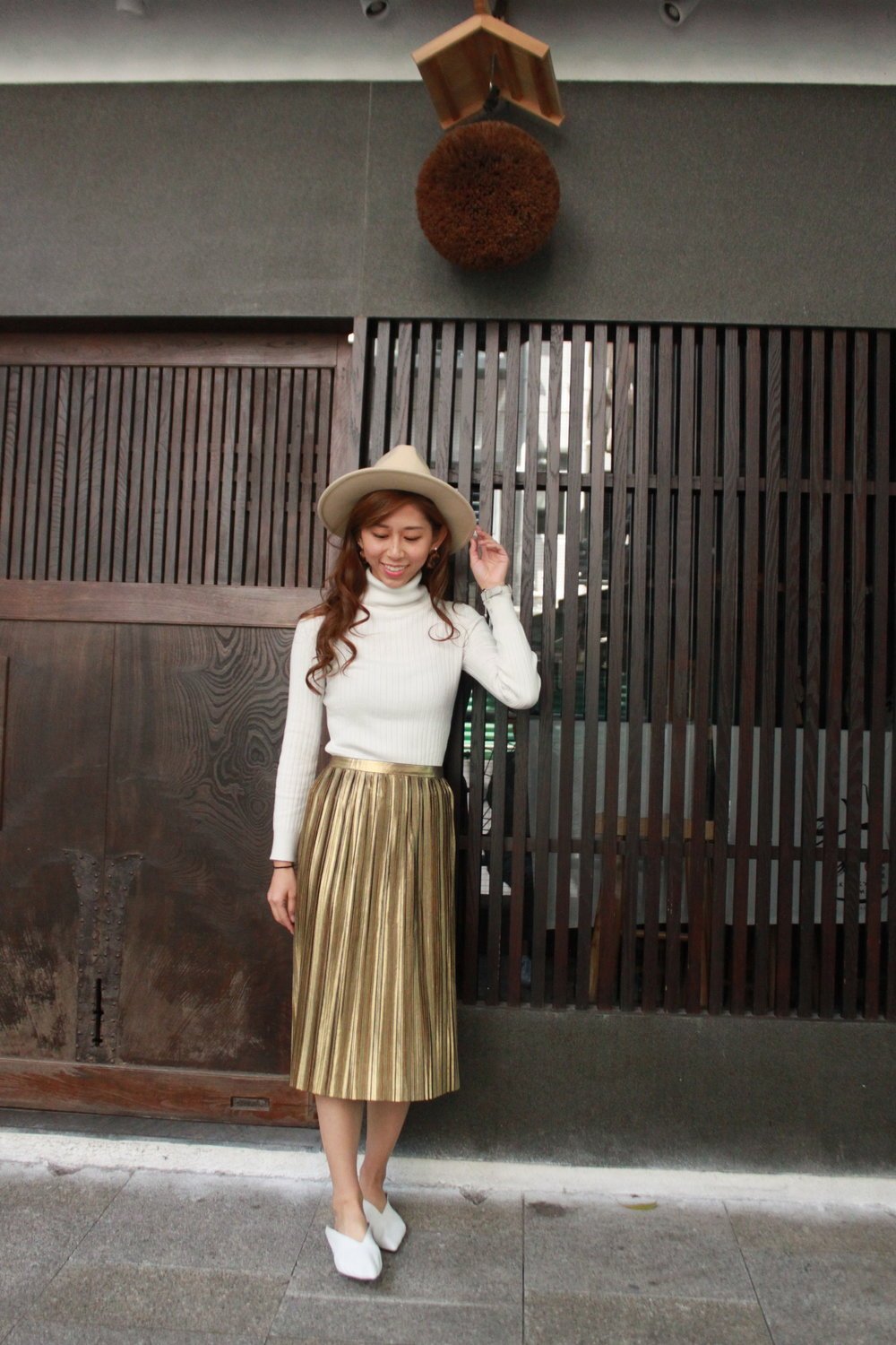 Topshop metallic gold pleated skirt / White knit top from Japan /  Lack of Color The Oracle  / OuiJasmine (Taiwan) white loafers