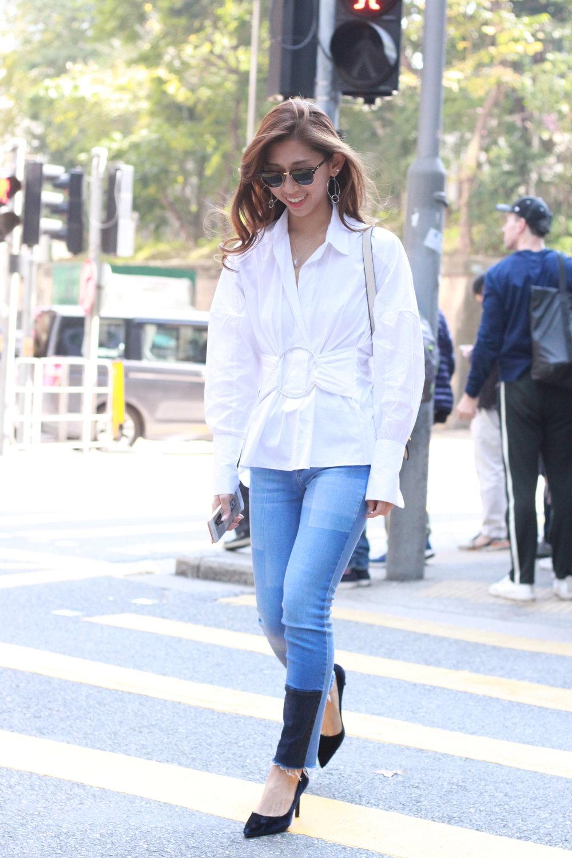 Zara poplin shirt / Zara patchwork jeans / Prada velvet pumps / Lanvin hangbag