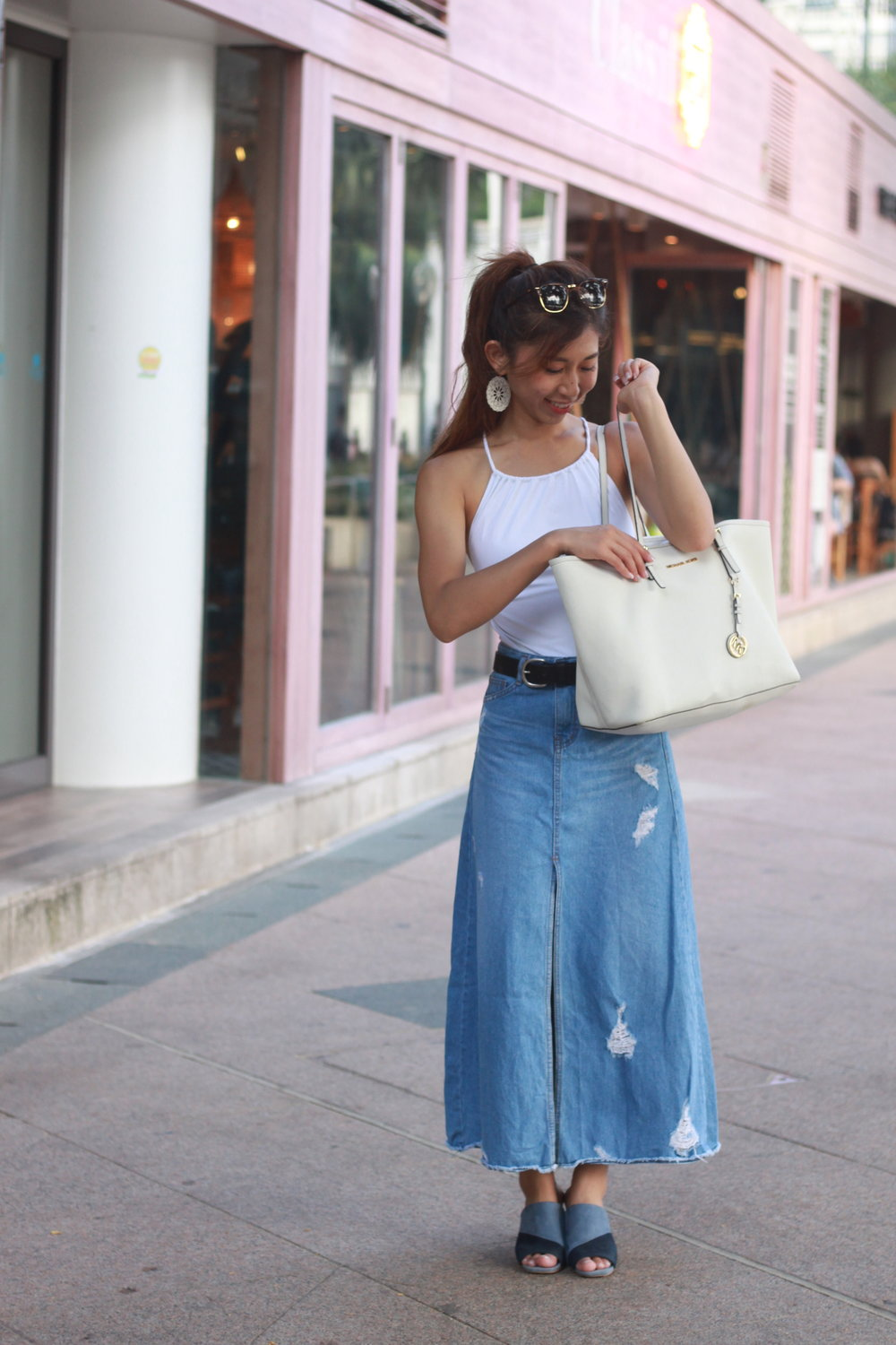 COS white swimsuit with tie back / Nude denim skirt / Zara mules / Levi's black belt