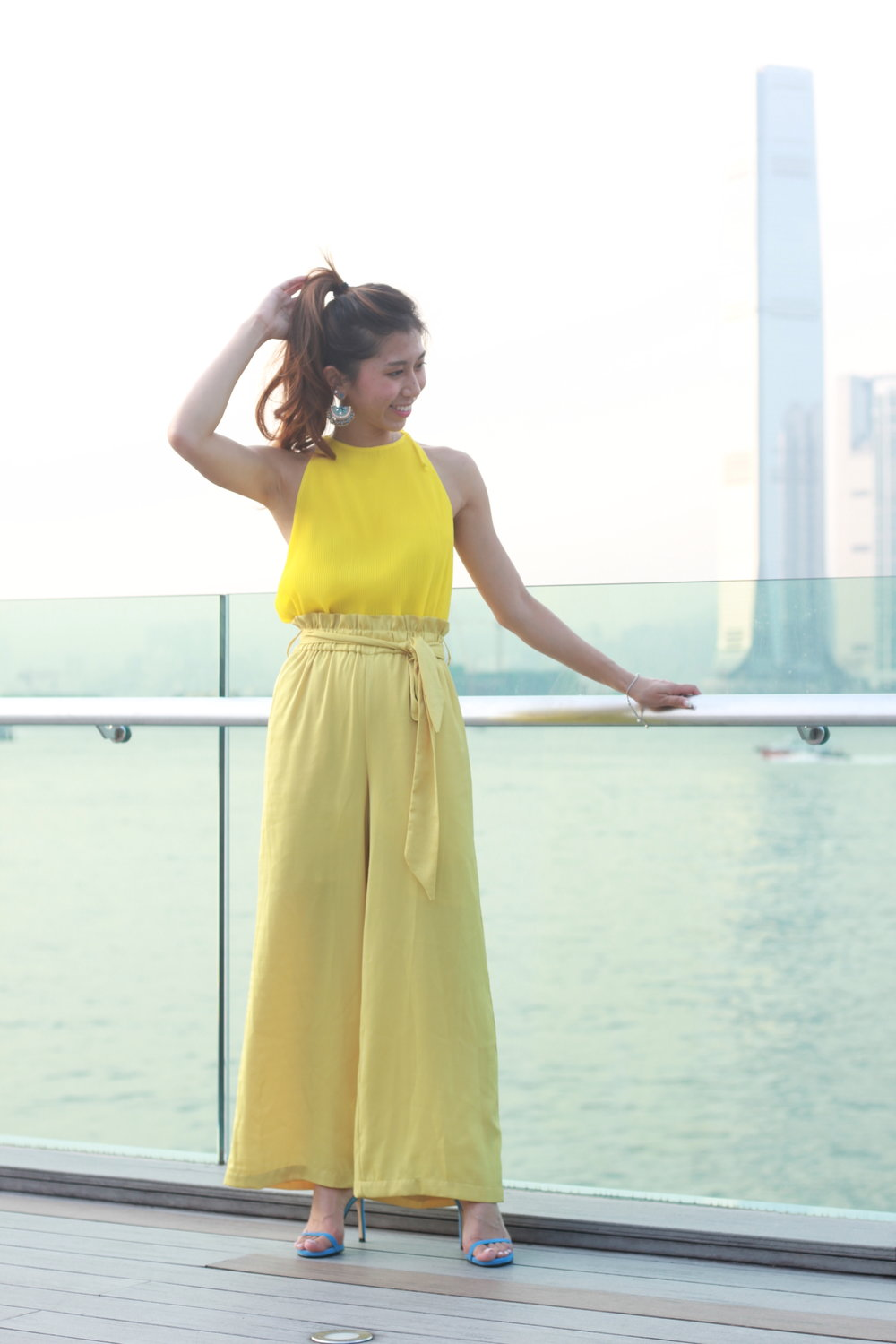 Mango pleated dress  / Mango yellow wide pants /  Stuart Weitzman 'nudist song' colourblock suede sandals