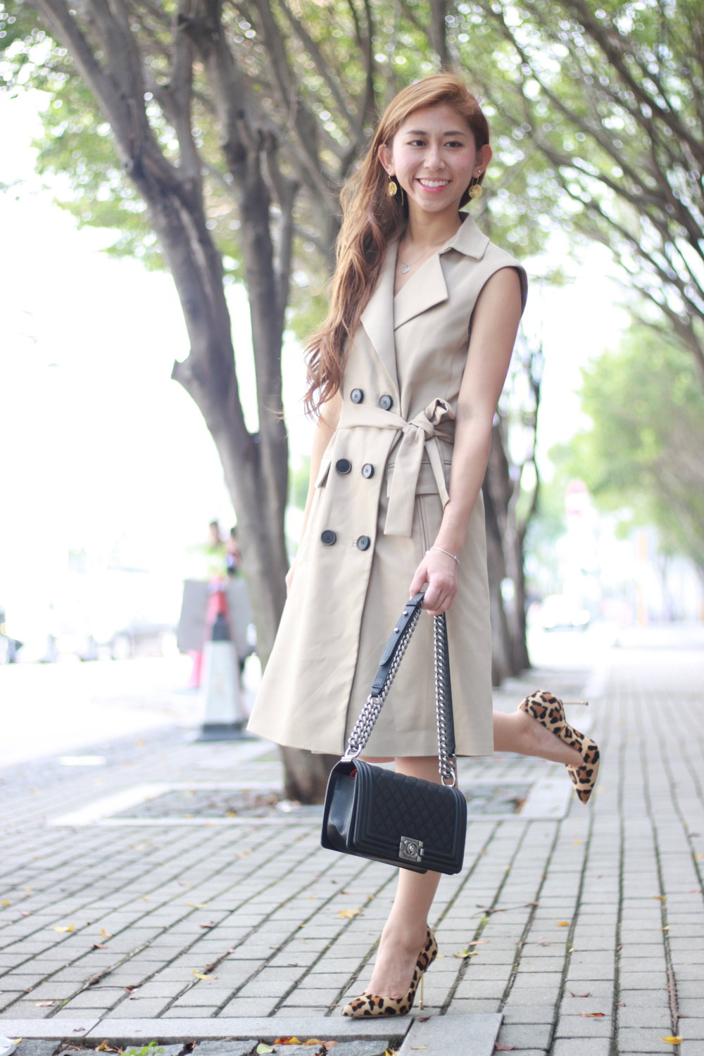 Zara trench / Kurt Geiger leopard BOND heels / Chanel boy / Poppis earrings