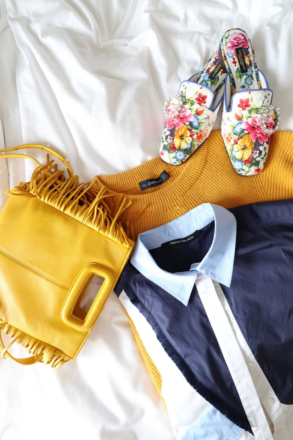 Maje lambskin M bag (yellow)  ($2400) /  Zara diagonal knit sweater (mustard)  ($300) /   Pennyblack Colour block shirt with fringe  ($1800) /  DOLCE & GABBANA Jackie Majolica-print slides  ($4400)
