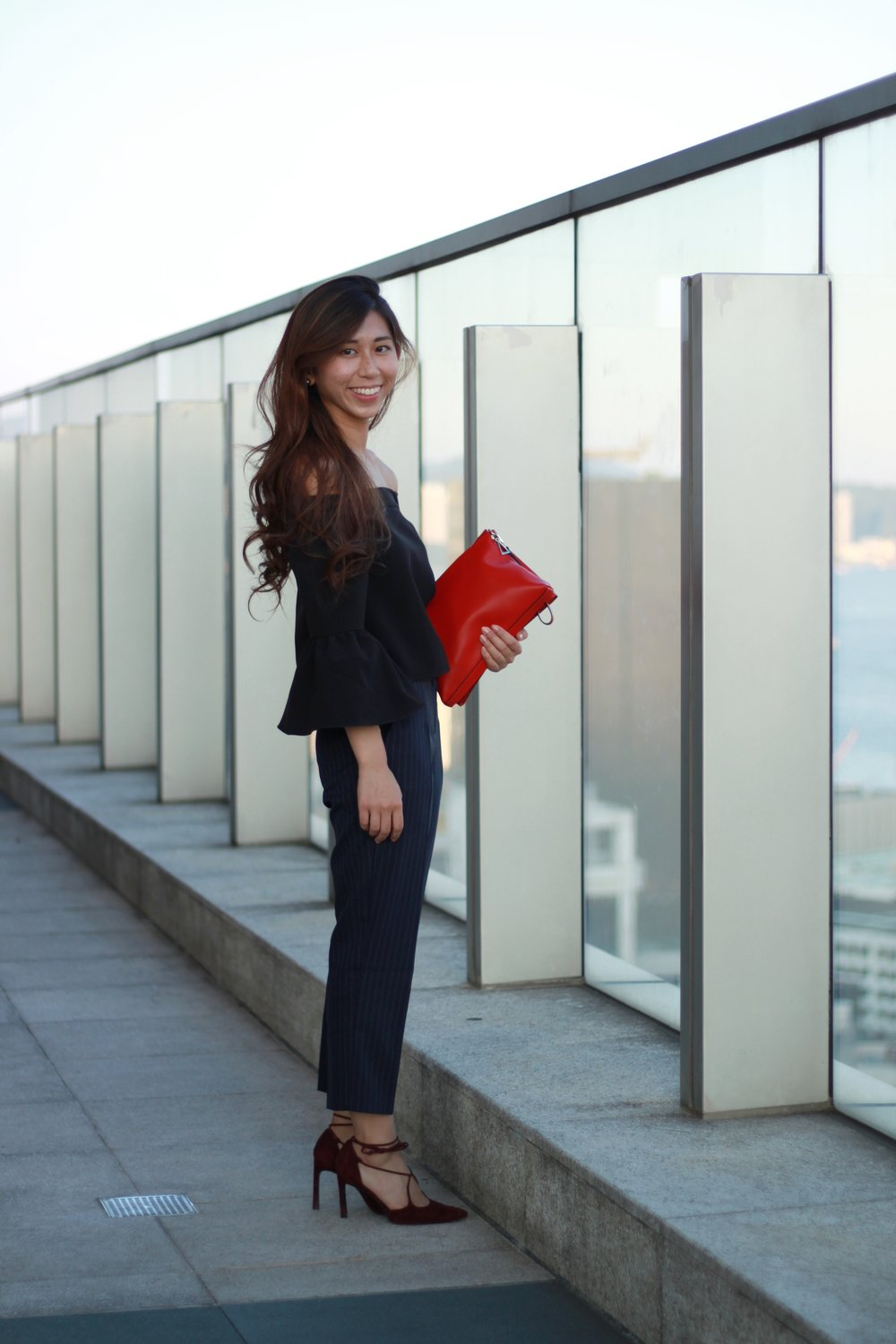 Asos top ($150) / Pants from Taiwan (plus tailor $250) / Stuart Weitzman lace up / Agnes b red clutch ($1300)