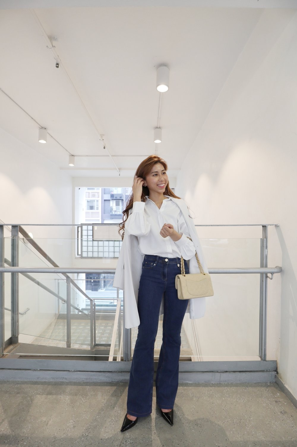 Shirt from Japan / Blazer from Japan /  Pennyblack Jeans kick flare fit super stretch  ($2000) / Chanel vintage /  Dior slingback in black patent calfskin