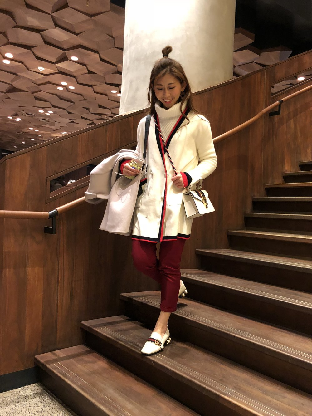 White turtleneck from Japan /  Zara double breasted jacket with pearl buttons  / Giordano red chino /  Gucci leather mid-heel loafers (white)  /  Gucci Sylvie leather mini bag  / Pennyblack coat