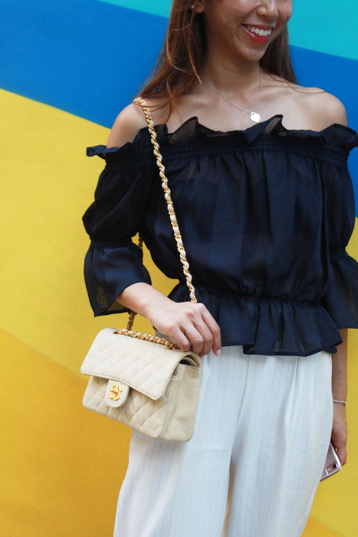 Jill Stuart offshoulder top  / White pants from Japan / Chanel vintage / KG leopard pumps