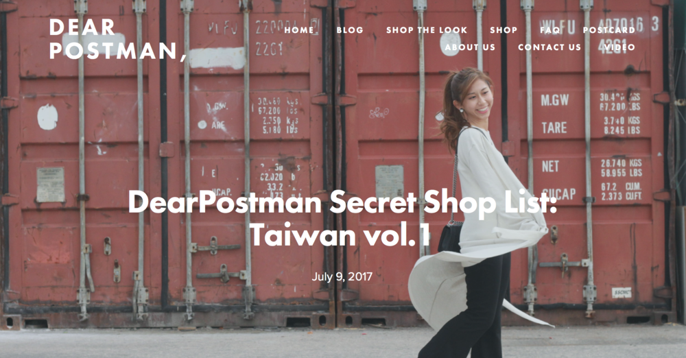 DearPostman Secret Shop List: Taiwan vol.1