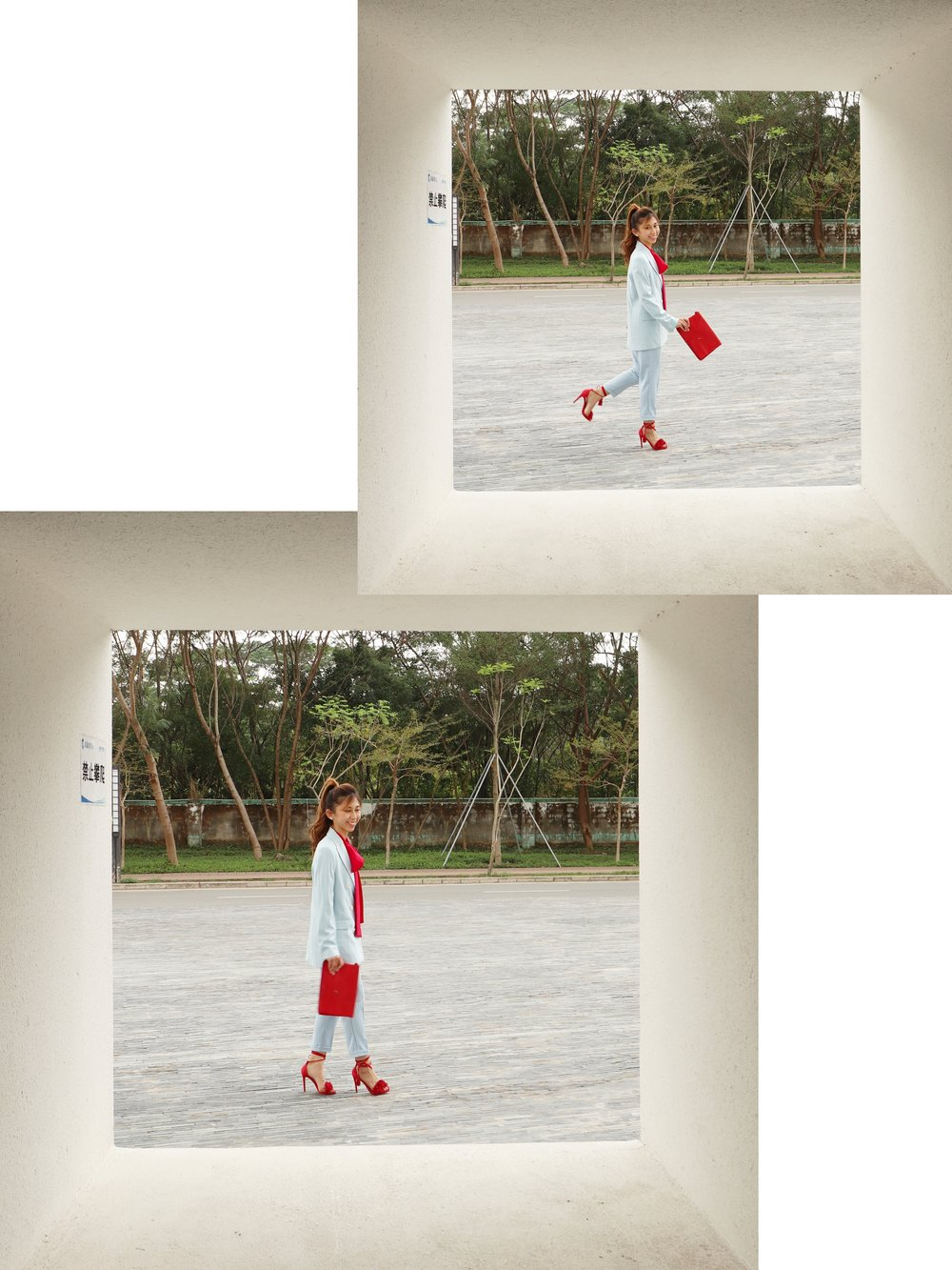 Racil lady tie-neck silk-crepe blouse (red)  /  Zara sky blue double breasted jacket  / Blue pants from Taiwan / Steve Madden wrap sandals / Agnes b red clutch