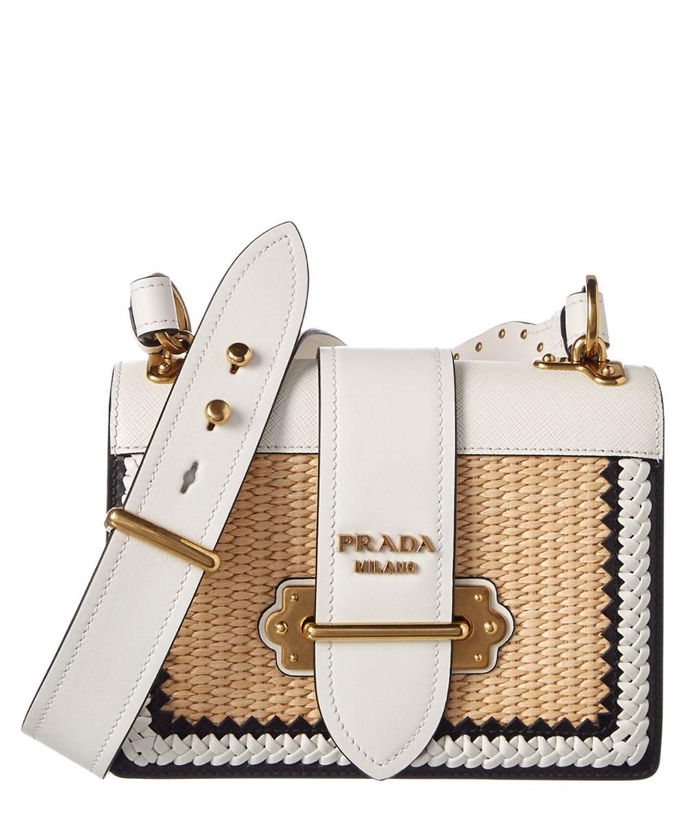 Prada Cahier Straw & Leather Shoulder Bag