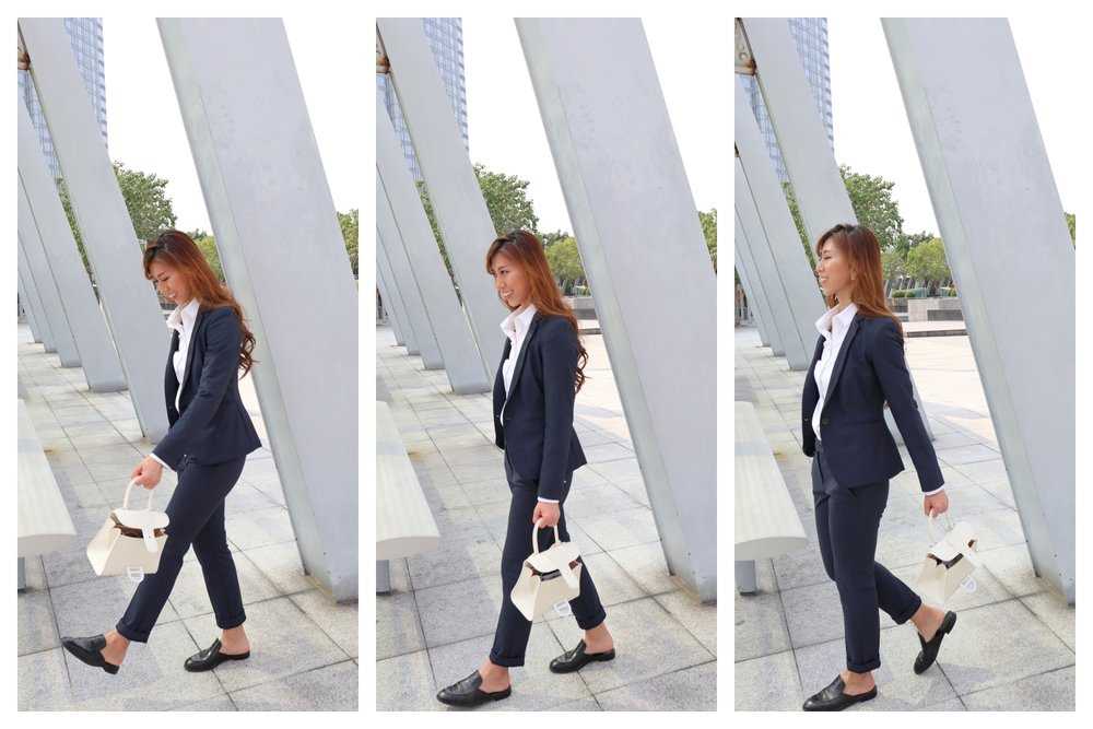 COS white shirt /  Max & Co slim-fit stretch fabric blazer (navy)  /  Max & Co slim-fit stretch trousers (navy)  / Giordano Ladies black leather slides /  Delvaux ivory brillant mini