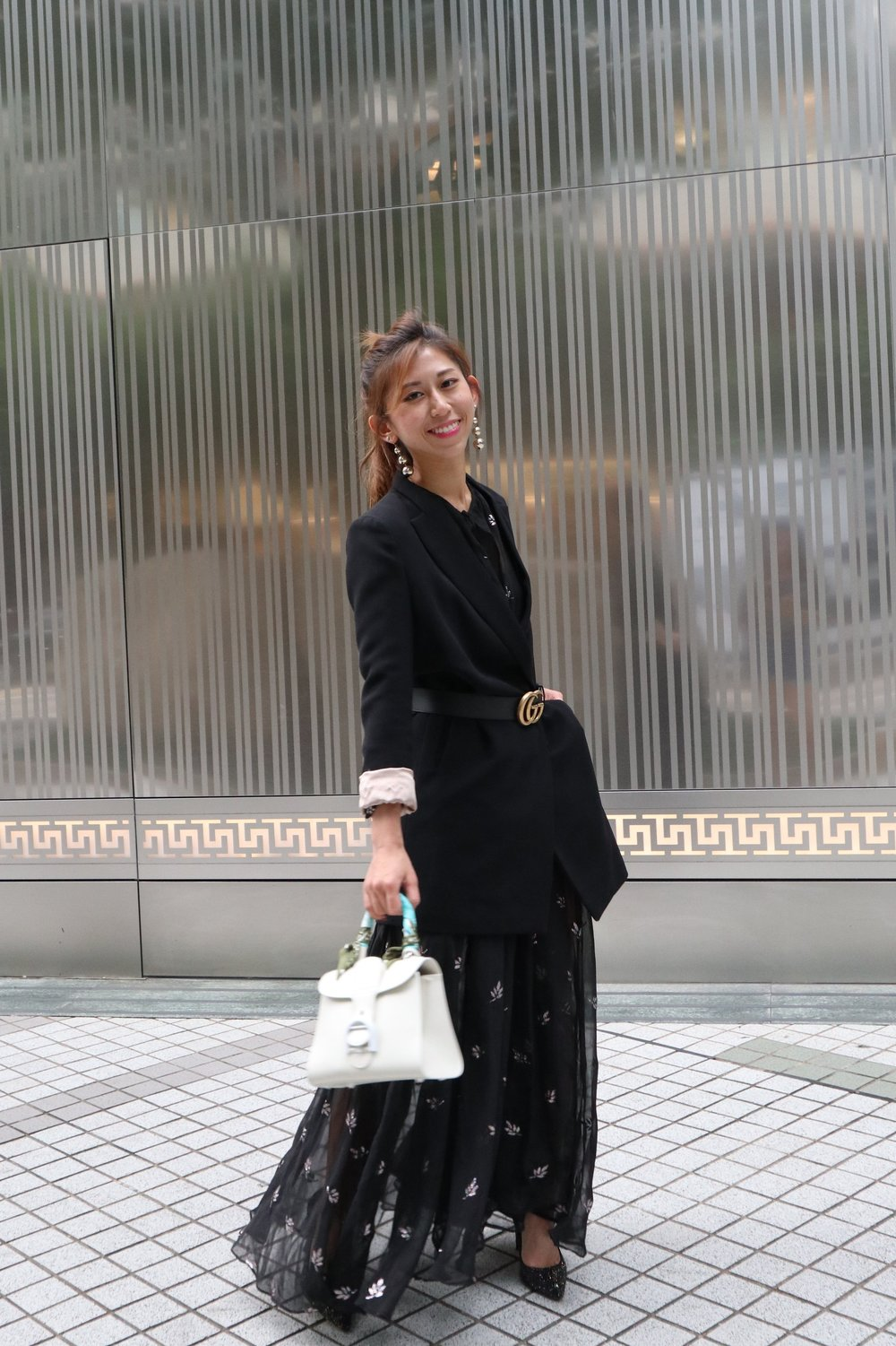 NastyGal maxi dress / Blazer from Korea /  Delvaux ivory brillant mini  /  Gucci leather belt with double G buckle  /  Jimmy Choo Romy 100 (rainbow and black multi coarse glitter fabric)