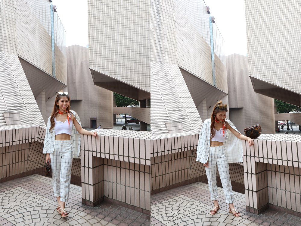 Brandy Melville white top /  Pennyblack unstructured blazer with check motif  /  Pennyblack check trousers  /  Pennyblack leather and cord sandals  /  Hermes Courvertures Nouvelles Vichy twilly  /  Cult Gaia acrylic ark - tortoise (mini)