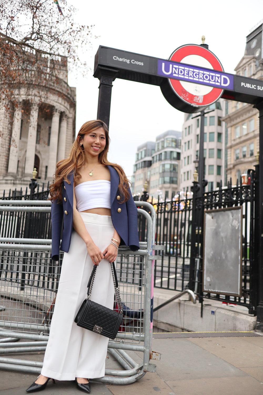 TOPSHOP white plain bandeau top  /  ZARA high-waist trousers  /  BALMAIN wool blazer navy  /  Dior slingback in black patent calfskin  / Chanel earrings