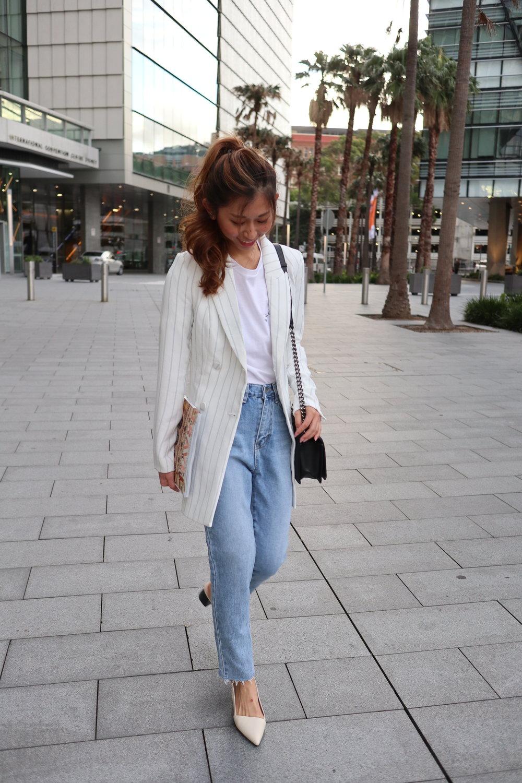 "DIOR ""Christian Dior Atelier"" print tshirt  /  KOOKAI pin stripe playsuit  /  Studiodoe 2-colour jeans  /  MERCEDES CASTILLO noni mid"