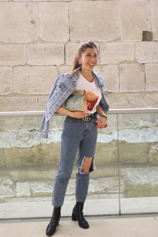 Zara mcdonalds tshirt  /  NEW LOOK Blue Light Wash Fitted Denim Jacket  /  Studiodoe ripped jeans  /  Studiodoe black leather boots  /  CHANEL BOY Grained Calfskin & Ruthenium-Finish Metal  /  Gucci leather belt with double G buckle