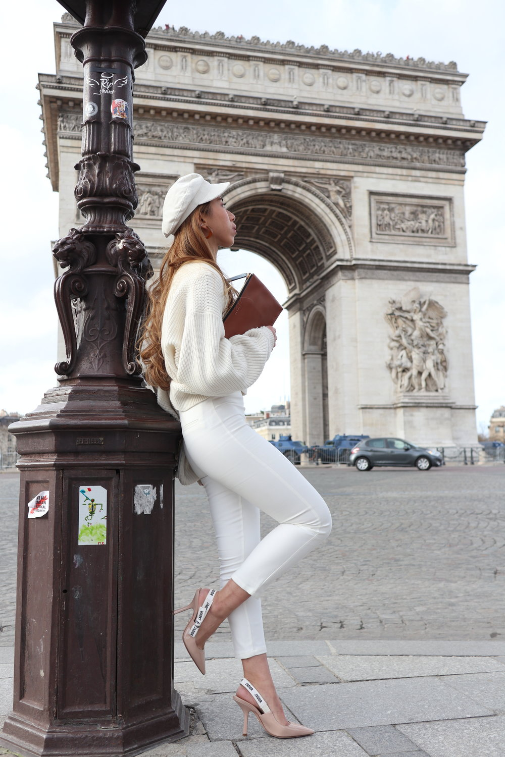 & OTHER STORIES cropped cardigan (white)  /  CASPIA LILI Ian pants  /  DIOR slingback in nude patent calfskin leather  /  ASOS DESIGN wedding braces in navy and white stripe  /  LACKOFCOLOR dunes cap  /  MARNI clutch in leather
