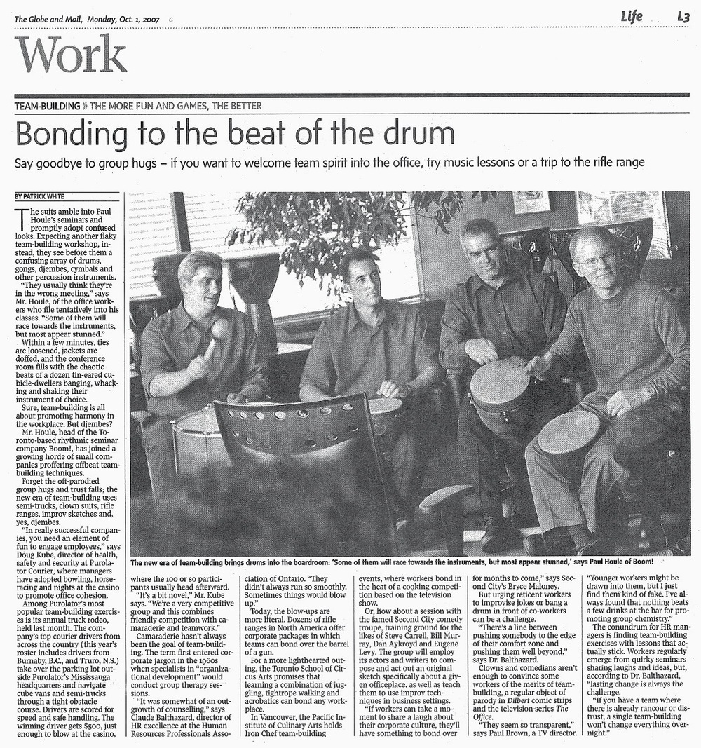 Bonding to the beat of the drum- Globe & Mail.jpg
