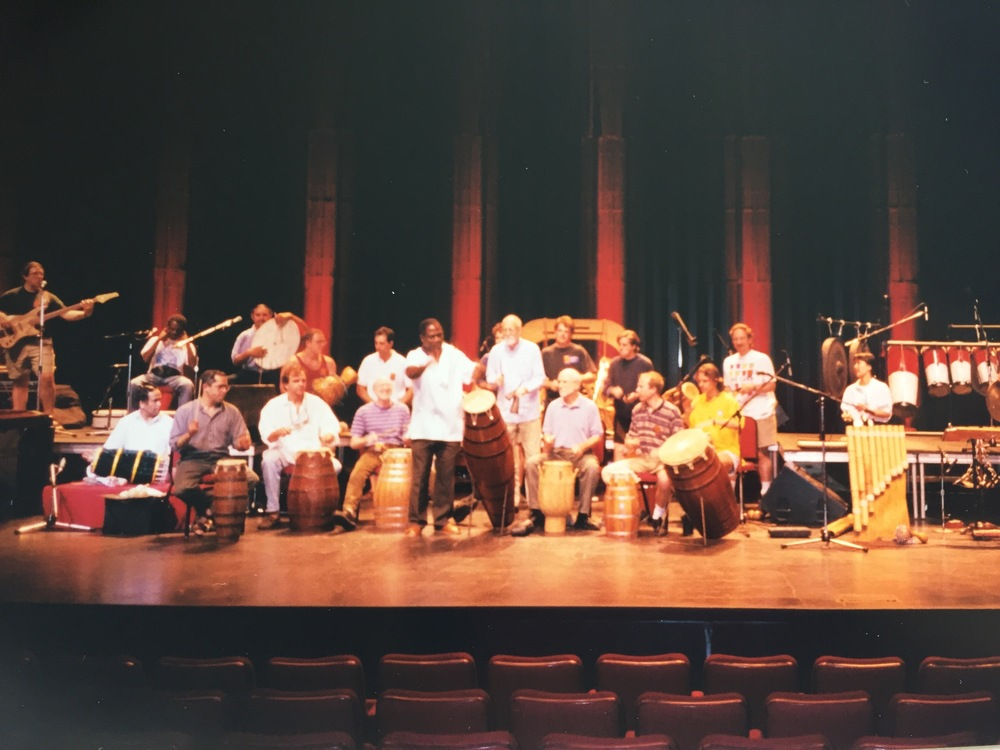 In performance with Abraham Adzenyah  and the World Drums Orchestra at Expo 1998 in Lisbon, Portugal.