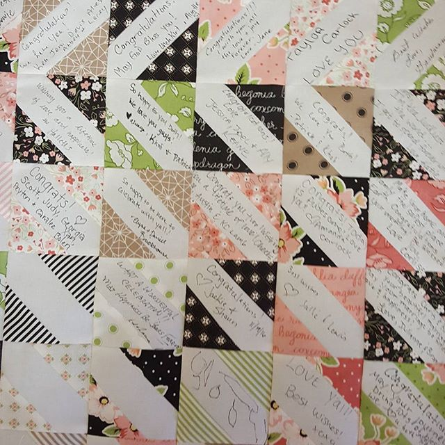 The center section of a signature quilt that I  made for my son and daughter-in-law's wedding.  #CARLOCKEDINLOVE #signaturequilts