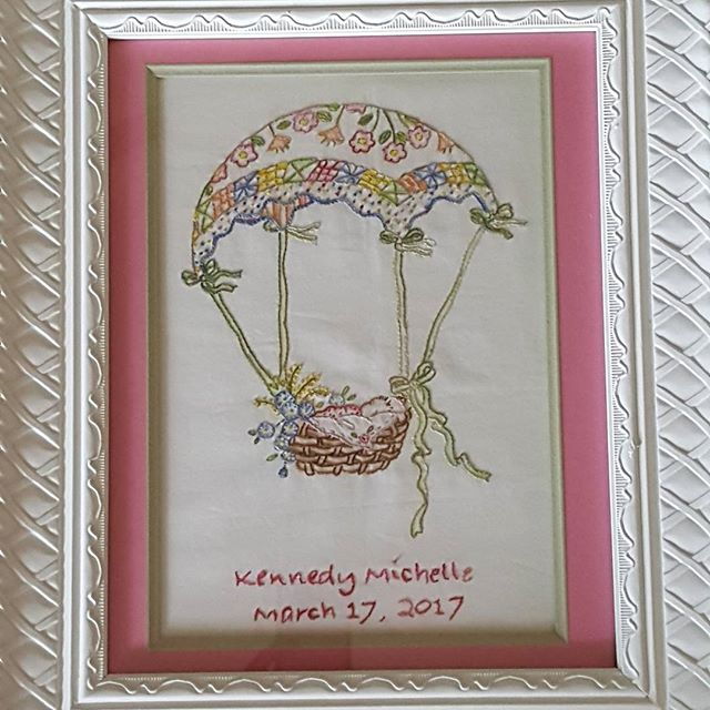 "I finished up my ""A Very Special Delivery"", and it was a special delivery.  I made it for my first Grandchild Kenedy.  The pattern is a design of Crabapple Hill.  #gandmasews#1srGrandbaby#embroideryart #crabapplehill #meghawky1 #Madewithlove"